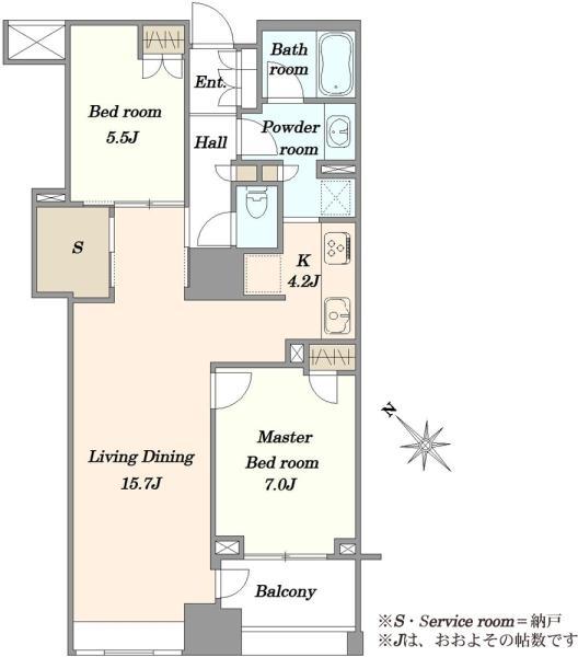 Brillia WELLITH月島 ブリリア ウェリス月島の間取図/7F/7,980万円/2LDK/74.86 m²