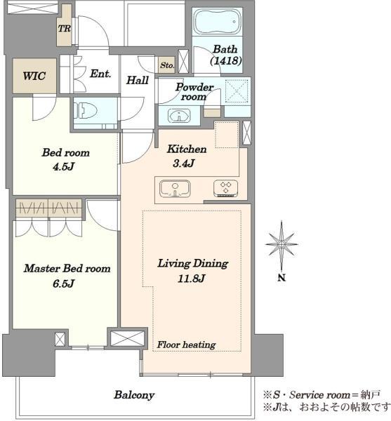 ベイズタワーガーデンの間取図/20F/5,980万円/2LDK/62.1 m²