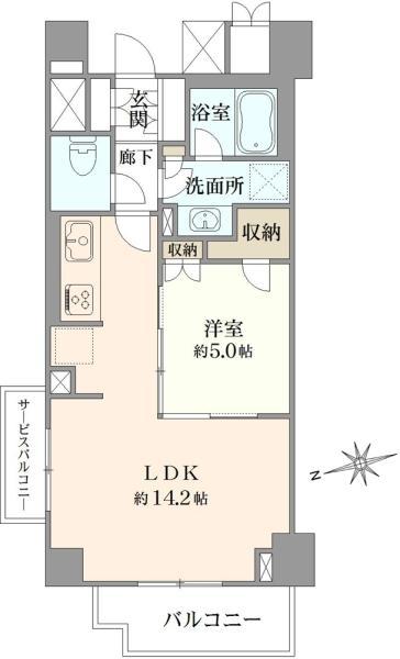 Brillia文京江戸川橋の間取図/5F/5,590万円/1LDK/48.22 m²