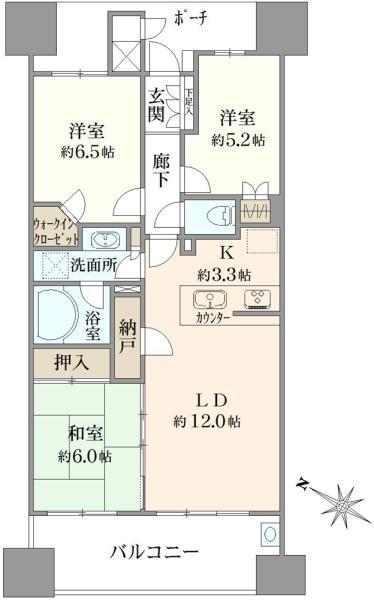 ブリリア大島小松川公園の間取図/12F/4,780万円/3LDK/73.35 m²