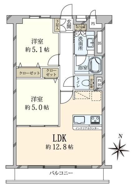 石神井公園マンションの間取図/6F/2,480万円/2LDK/51.3 m²
