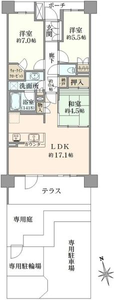 ブリリアシティひばりが丘の間取図/1F/3,180万円/3LDK/75.52 m²