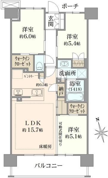 ブリリアシティ石神井台の間取図/3F/5,420万円/3LDK/73.84 m²