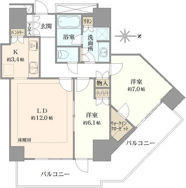 ルネッサンスタワー上野池之端の間取図/7F/7,780万円/2LDK/70.13 m²