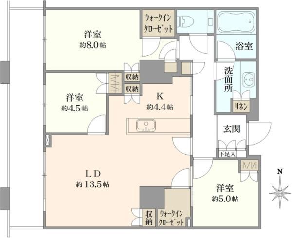 ブリリアタワー東京の間取図/43F/10,980万円/3LDK/85.77 m²