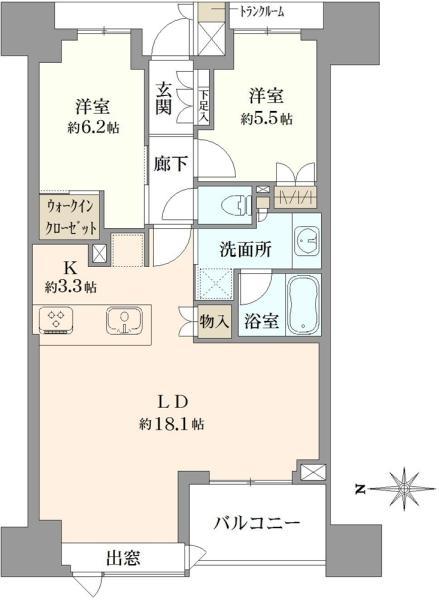 ブリリアタワー八王子の間取図/12F/5,180万円/2LDK/70.82 m²