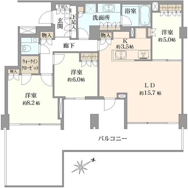 Brillia駒込染井の間取図/-1F/9,480万円/3LDK/95.62 m²