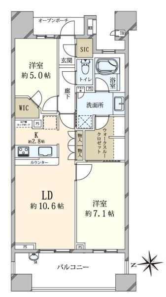 Brillia品川中延の間取図/8F/6,280万円/2LDK/62.83 m²