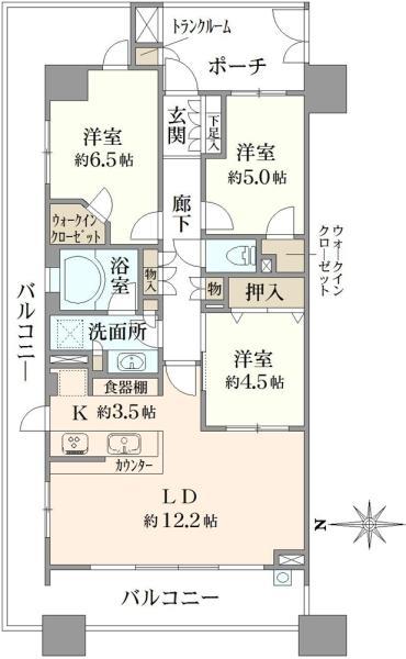 ブリリア品川中延の間取図/7F/7,580万円/3LDK/73.87 m²