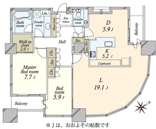 東京ツインパークスライトウイングの間取図/30F/18,000万円/2LDK/100.37 m²
