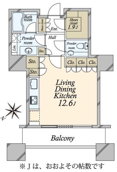 東京ツインパークスライトウイングの間取図/24F/5,690万円/1R/40.07 m²