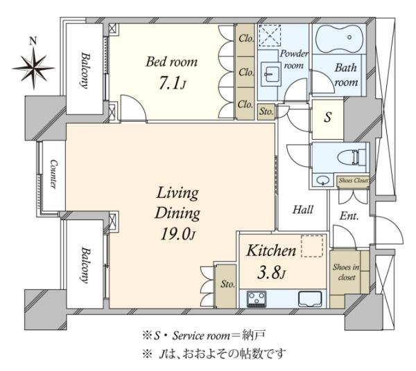 高輪ザ・レジデンスの間取図/27F/10,480万円/1SLDK/74.02 m²
