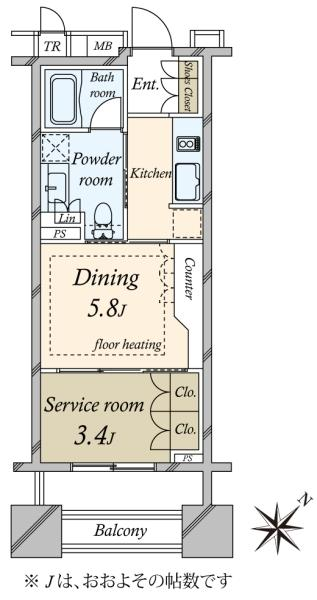 ブリリア銀座idの間取図/8F/4,400万円/1LDK/30.2 m²