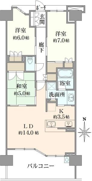 ブリリアシティ横浜磯子G棟の間取図/11F/5,080万円/3LDK/80.18 m²