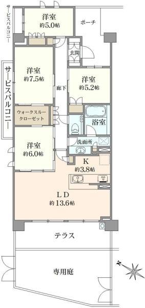 ブリリアシティ横浜磯子C棟の間取図/1F/4,980万円/4LDK/95.1 m²