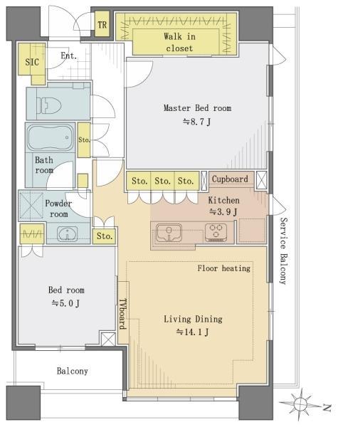 ブリリアタワーズ目黒ノースレジデンスの間取図/39F/17,800万円/2LDK/75.81 m²