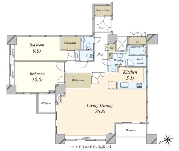 ザ・タワーズ台場 THE TOWERS DAIBAの間取図/27F/16,200万円/2LDK/121.12 m²