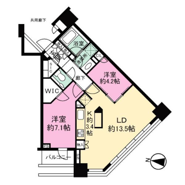 ブリリアタワーズ目黒 ノースレジデンスの間取図/22F/12,980万円/2LDK/65.57 m²