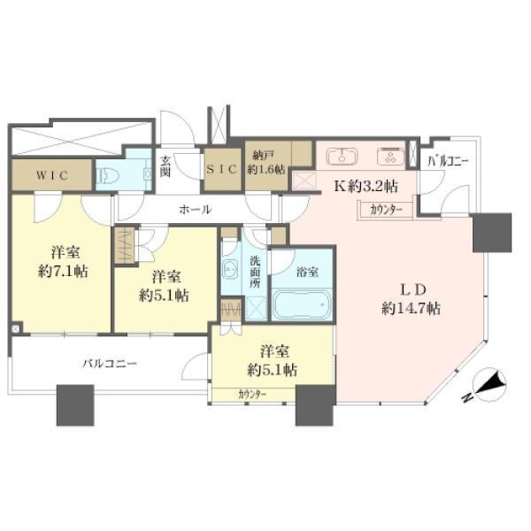 スカイズ タワー&ガーデンの間取図/40F/9,980万円/3LDK/82.8 m²