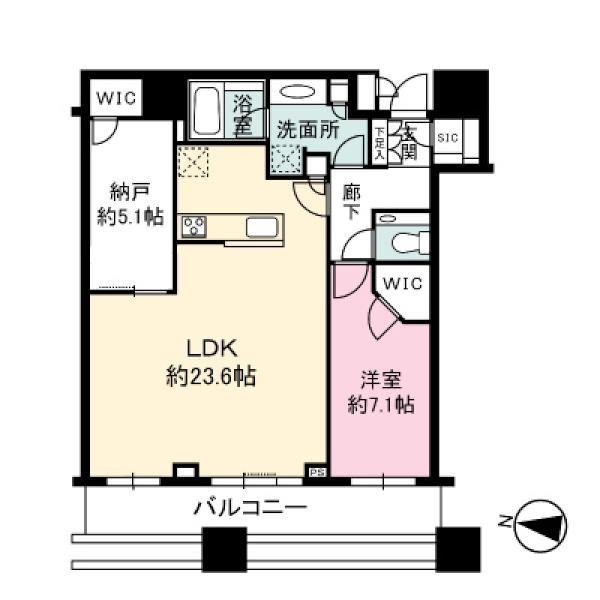 Brillia Towers目黒ノースレジデンスの間取図/36F/17,900万円/1SLDK/82.59 m²