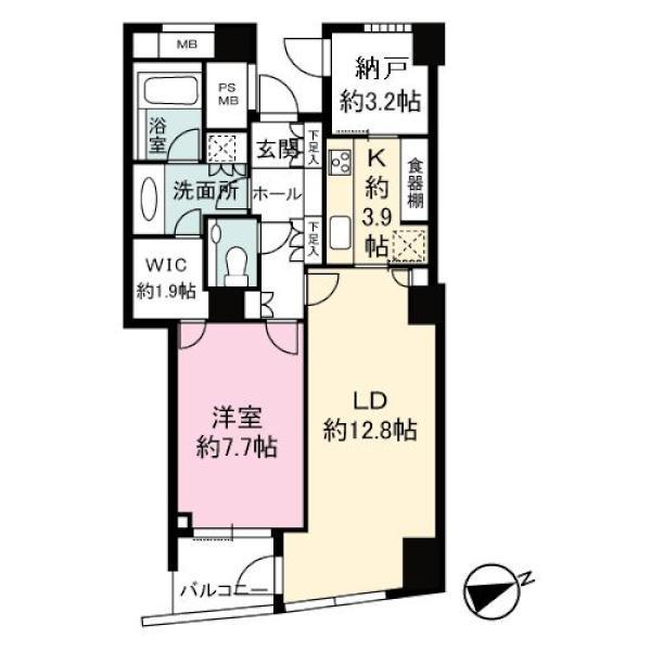 品川Vタワーの間取図/22F/7,540万円/1LDK/65.31 m²
