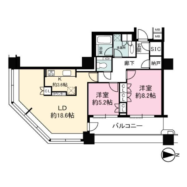 Brilliaタワー東京の間取図/15F/9,500万円/2LDK/82.49 m²