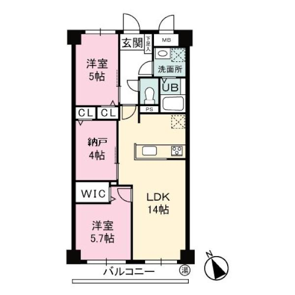 多摩川サンハイツの間取図/7F/3,680万円/2SLDK/64.41 m²
