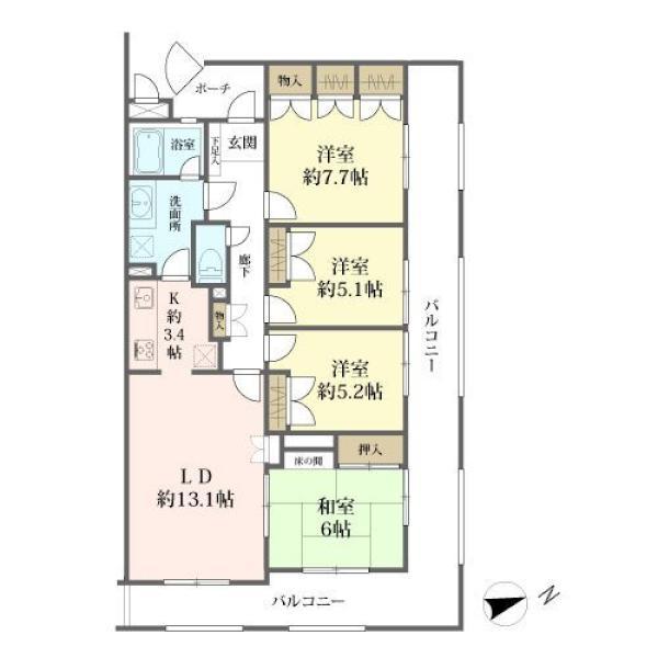 東建ニューハイツ金沢文庫の間取図/2F/1,980万円/4LDK/91.23 m²