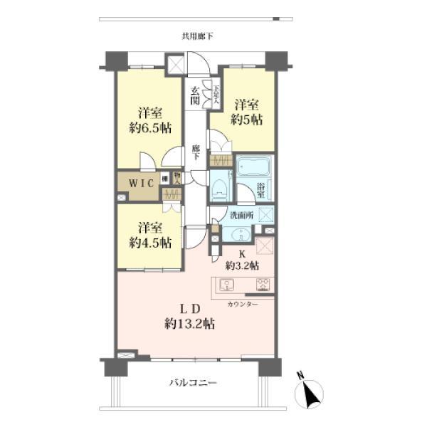 クレヴィア蘆花公園の間取図/3F/5,480万円/3LDK/71.91 m²