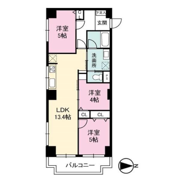 ニューハイツ大森の間取図/1F/3,580万円/3LDK/61.07 m²