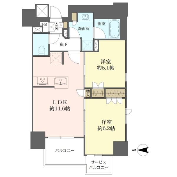 Brillia上野Placeの間取図/4F/6,980万円/2LDK/55.23 m²