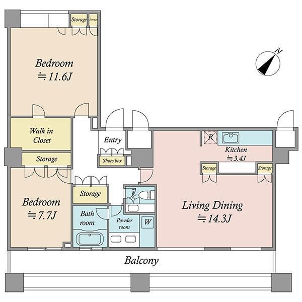 エアライズタワーの間取図/20F/12,000万円/2LDK/101.51 m²