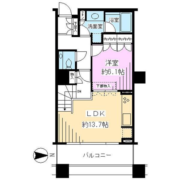 ブリリアタワー東京の間取図/6F/4,980万円/1LDK/50.01 m²