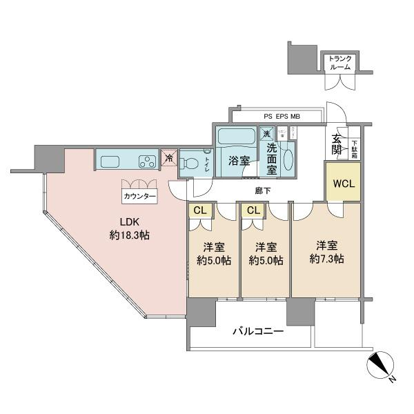 BrilliaGrandeみなとみらい パークフロントの間取図/26F/8,480万円/3LDK/82.47 m²