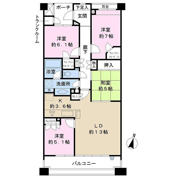 湘南袖ケ浜レジデンス B棟の間取図/2F/3,280万円/4LDK/90.32 m²