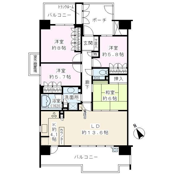 ファーストウイングの間取図/14F/4,980万円/4LDK/95.68 m²