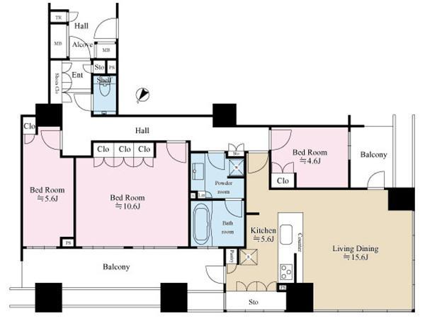 ブリリアマーレ有明 タワー&ガーデンの間取図/15F/8,480万円/3LDK/97.61 m²