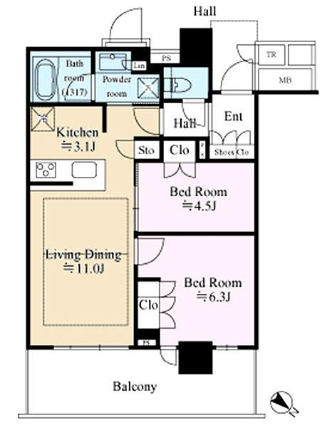 ブリリア 有明 シティ タワーの間取図/31F/5,280万円/2LDK/55.92 m²