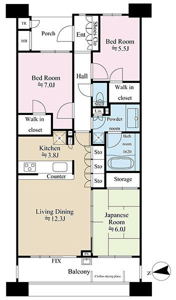 グランエスタの間取図/7F/5,780万円/3LDK/81.59 m²