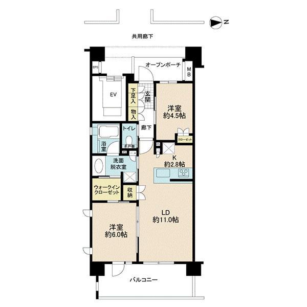 ネクサスシーズン戸塚の間取図/7F/3,280万円/2LDK/57.87 m²