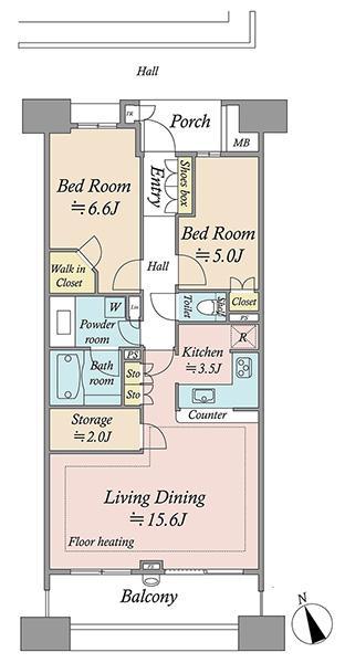 グランエスタの間取図/16F/5,480万円/2LDK/71.45 m²