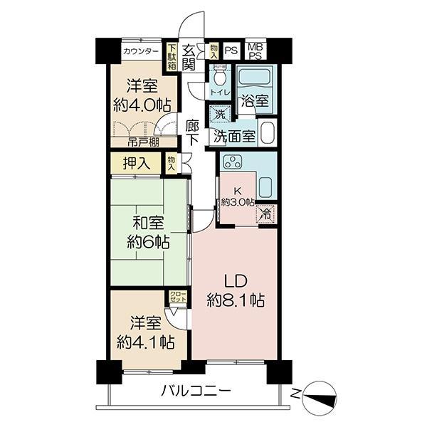プランヴェール吉野町の間取図/9F/3,280万円/3LDK/59.68 m²