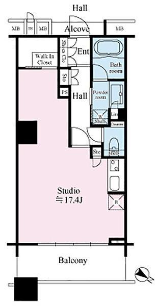 ブリリアマーレ有明タワー&ガーデンの間取図/21F/4,180万円/1R/45.88 m²
