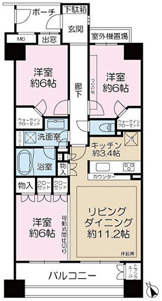 エムステージ・イースティアの間取図/9F/4,980万円/3LDK/76.85 m²