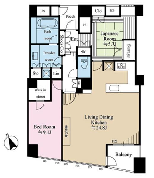 品川Vタワーの間取図/34F/14,900万円/2LDK/94.8 m²