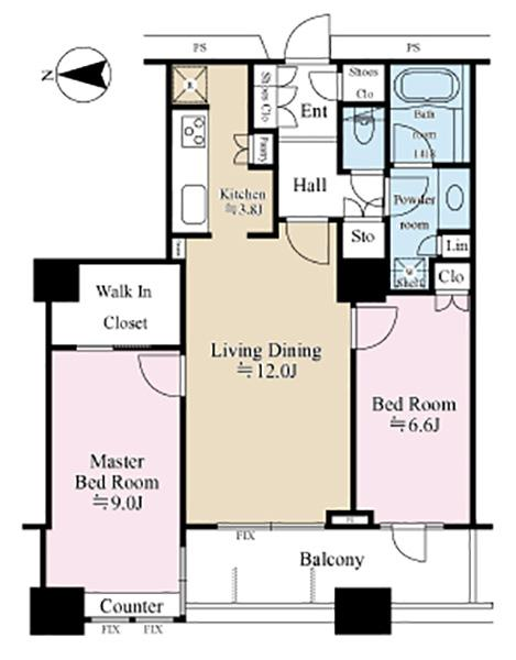 ラグナタワーの間取図/19F/5,480万円/2LDK/72.6 m²