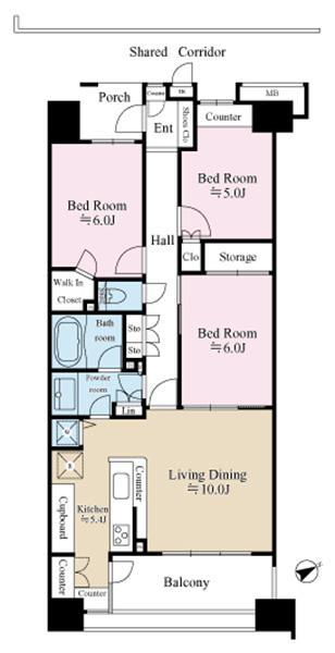エムステージ・ウエスティアの間取図/3F/4,880万円/3LDK/78.06 m²