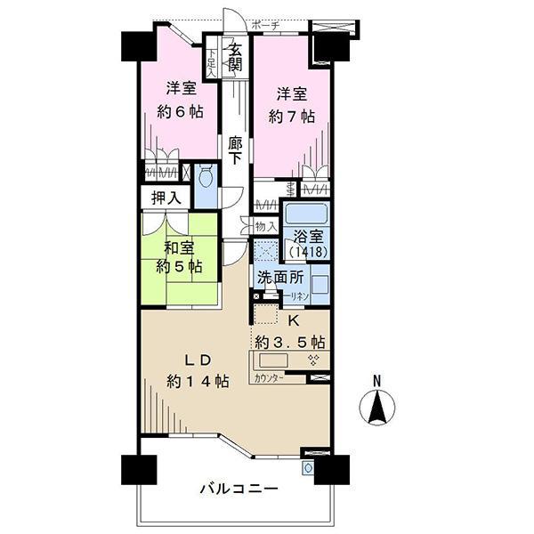 ブリリアシティ横浜磯子の間取図/7F/5,080万円/3LDK/80.18 m²