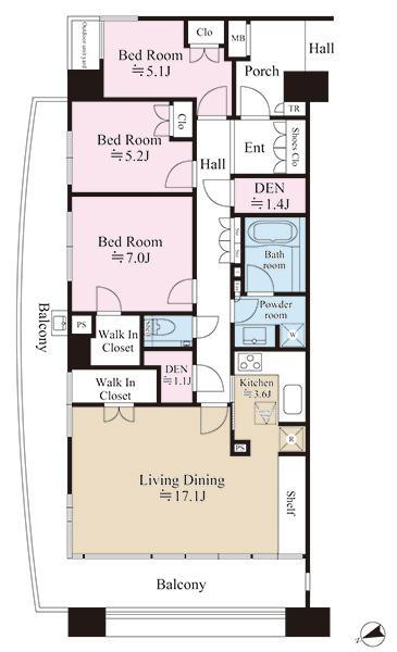 グランエスタの間取図/10F/6,290万円/3LDK/91.94 m²