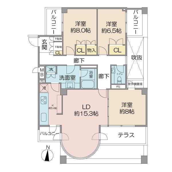 ロワ・ヴェール荻窪北A棟の間取図/3F/4,990万円/3LDK/102.98 m²